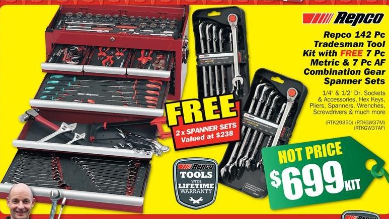 Repco 142 Pc Tradesman Tool Kit $699 at Repco « CashMe