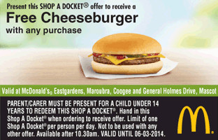 Free Cheeseburger from McDonald's Eastgardens, Maroubra, Coogee, Mascot