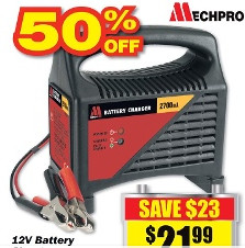 MechPro 12V Battery Charger $21.99 at Repco