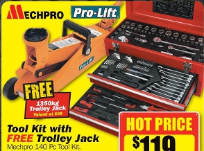 MechPro Tool Kit With FREE 1350kg Trolley Jack Valued at $49 for $119 at Repco