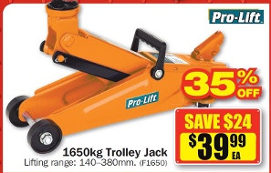 Pro-Lift 1650kg Trolley Jack $39.99 at Repco