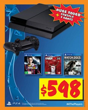 PS4 500GB Console Bundle (+ Watch Dogs, Fifa 14 & Nba 2k14) $598 at JB Hi-Fi